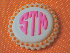 Monogram Decorated Sugar Cookies (12) - could be made in black/white/blue colors to go with Monogram printable party set here: https://www.etsy.com/listing/130773867/birthday-party-printable-monogram-teen?ref=related-12