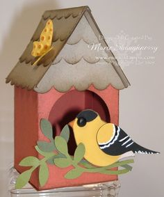 Bird house Milk Carton Marie Shaughnessy Stampin' Up! Wreath Crafts, Paper Crafts, Diy Crafts, 3d Paper, Feeding Birds In Winter, Milk Carton Crafts, Homemade Bird Houses, Bird House Kits, Craft Fairs