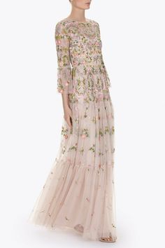 Needle & Tread The Dragonfly Garden Maxi Dress colorful embroidered wedding dress boho Victorian bell sleeve gown