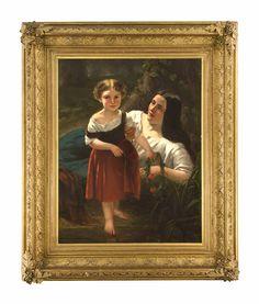 Walraven, Jan. Amsterdam 1827 - Brüssel 1863. Mutter und Tochter. Öl/Lw., doubl. Signiert u. li. JWalraven. 106 x 83 cm / im goldstaffierten Prunkrahmen 147 x 125 cm.- Am Flußufer vergnügen sich Mutter und Tochter. Die Kleine hält einen mit rotem Klatschmohn geflochtenen Bumenkranz in ihrer Hand und hat bereits einen Fuß ins seichte Wasser gestellt, als sie liebevoll von ihrer Mutter am Arm zurückgehalten wird.