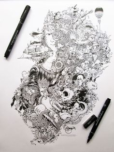 Detailed black pen drawings by Kerby Rosanes | @Demilked