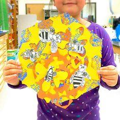A mixture of and MizzLee_Art Great idea! Spring Art Projects, Cool Art Projects, Kindergarten Art, Preschool Art, 2nd Grade Art, Bug Art, Yellow Art, Collaborative Art, Art Lessons Elementary