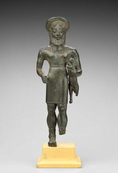 """statue known as """"Hermes Kriophoros"""" or """"The Ram Bearer"""" - Greek Archaic period, about B. Votive statuette of Hermes as bearded shepherd and guardian of the flocks. at the Museum Fine Art, Boston Classical Period, Classical Art, Greek Gods And Goddesses, Greek Mythology, Ancient Greek Sculpture, Roman Gods, Ancient Greece, Archaic Greece, Small Sculptures"""