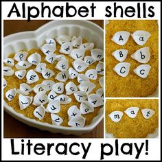 Literacy: The Imagination Tree: Alphabet Shells Playful Literacy Games. What a great way to have several games that could be played with the same items! I would just be cautious of small shells or other items that could cause choking if swallowed. Early Literacy, Literacy Activities, Educational Activities, Learning Activities, Activities For Kids, Learning Objectives, Beach Activities, Literacy Skills, Preschool Ideas