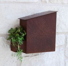 Modern Mailbox with Unique Rust Patina Finish and Small Side Planter (Free Shipping)