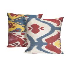 Traditional Ikat Silk Pillows in Primary Hues - $450 Est. Retail - $120 on Chairish.com
