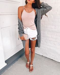 shorts and cardigan