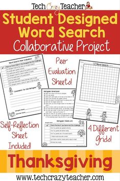 Need an activity to add to your Thanksgiving fun? Check out this word search project! Students create their own Thanksgiving Word Searches. This collaborative project includes 2 peer evaluation forms and a project reflection form. Students engage in highe Thanksgiving Word Search, Valentines Word Search, Christmas Word Search, Thanksgiving Words, Valentine Words, Holiday Words, Christmas Words, Holiday Fun, Christmas Holiday