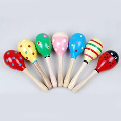 Sports & Entertainment Pair Of Wooden Large Maracas Rumba Shakers Rattles Sand Hammer Percussion Instrument Musical Toy For Kid Children Party Games Good Taste