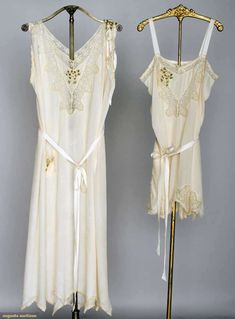 Trousseau Lingerie Set, 1920s, Ivory silk w/ ribbon rosettes & lace trim: 1 teddy & 1 negligee w/ handkerchief hem, Augusta Auctions, November 13, 2013 - NYC