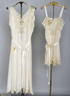 Trousseau Lingerie Set, 1920s, Ivory silk w/ ribbon rosettes & lace trim: 1 teddy & 1 negligee w/ handkerchief hem, Augusta Auctions, November 13, 2013 - NYC