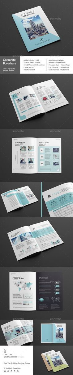 Corporate Brochure A4 Template InDesign INDD #design Download: http://graphicriver.net/item/corporate-brochure-a4-us/13627909?ref=ksioks