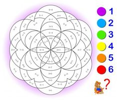 Educational page with exercises for children on addition and subtraction. Need to solve examples and to paint the image in relevant colors. Developing skills for counting. Math Coloring Worksheets, Preschool Worksheets, Post Reading Activities, Preschool Activities, Multiplication Games, Math Anchor Charts, Sight Word Games, Diy Projects For Beginners, Math For Kids