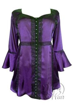 Dare To Wear Victorian Gothic Women's Plus Size Enchanted Top in Amethyst