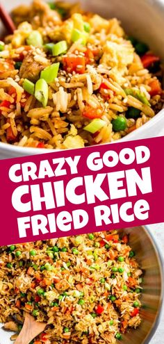 Easy Chicken Fried Rice is a quick and simple dinner you can make any night of the week. This stir fry is ready in just 30 minutes, full of healthy vegetables and kid-friendly, too - you can even make it if you don't have any leftover rice on hand! | #recipes #chicken #chickendinner #healthy #healthyrecipes #easydinner #dinner #dinnerrecipes #chickenfoodrecipes #chickenrecipes #kidfriendly #healthychickenstirfry