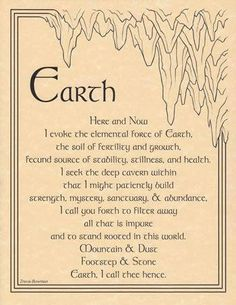 Earth Elemental Invocation Wiccan Spells Love, Green Witchcraft, Magic Spells, Real Spells, Ritual Magic, Witchcraft Spells, Witchcraft Supplies, Paganism, Heat Energy