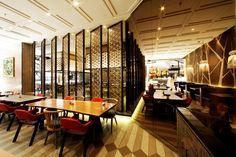 Maison Tatsuya Restaurant by Metaphor Interior at Kota Kasablanka, Jakarta –… Coffee Shop Interior Design, Restaurant Interior Design, Cafe Design, Restaurant Interiors, Store Design, Modern Restaurant, Cafe Restaurant, Visual Merchandising, Jakarta