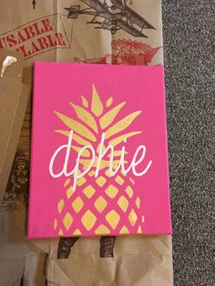 Delta Phi Epsilon pineapple canvas, DPhiE, sorority crafts, big little crafts