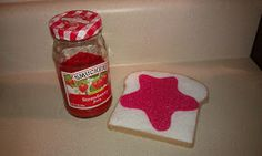 "Store splotches of ""jam"" in a real container (I would use a plastic jar) that can be taken out to put on felt/plastic bread."