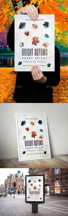 Bright Autumn Poster Template  — PSD Template #concert #postcard • Download ➝ https://graphicriver.net/item/bright-autumn-poster-template/18001595?ref=pxcr