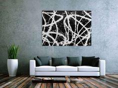 Abstraktes Acrylgemälde in schwarz weiß sehr modern und schlicht 100x140cm von xxl-art.de