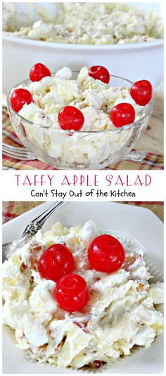 Taffy Apple Salad | Can't Stay Out of the Kitchen | This delectable #salad tastes just like eating #candyapples! It's great for #holiday menus. #apples #peanuts #pineapple