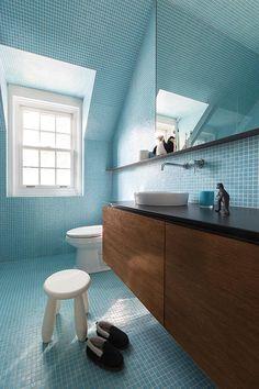 Project Image La Shed Architecture, Index Design, Blue Mosaic Tile, Timber Vanity, Double Vanity, Decoration, Interior Design, Furniture, Bathroom Vanities