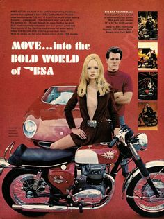 Talk about hot, red hot! This original 1968 advertisement features a Ferrari 250 and BSA Spitfire MK IV. Of course there is the blonde. Full of sexy allure, it is a moment of thought - who to approach
