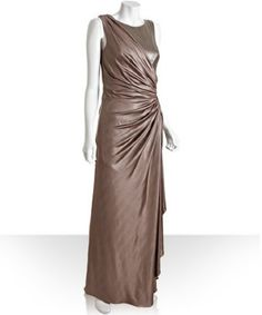 Tadashi Shoji mineral metallic jersey sleeveless ruched sequin gown | BLUEFLY up to 70% off designer brands at bluefly.com