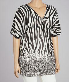 Look at this #zulilyfind! Black & White Jungle Cape-Sleeve Tunic - Plus #zulilyfinds