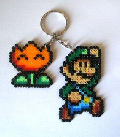 Luigi and Flower Keyring perler bead sprite by Ramón Rivas Farto