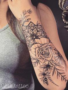 Tattoodo – foot tattoos for women flowers Quarter Sleeve Tattoos, Tattoos For Women Half Sleeve, Full Sleeve Tattoos, Women Sleeve, Female Arm Sleeve Tattoos, Tattoo Sleeves Women, Mandala Tattoo Sleeve Women, Girly Sleeve Tattoo, Mandala Tattoos For Women