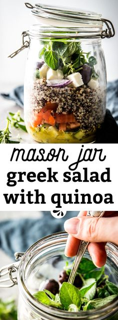 This recipe for Mason Jar Greek Quinoa Salads is a super quick and easy meal prep lunch idea. Take a healthy meal to school or work to fuel your busy day! You can make it ahead of time and then just grab it in the morning, a simple vegetarian idea to help you feel great about bringing a packed lunch! An ideal grab and go solution for busy families on the go - to make your mornings SO much easier!
