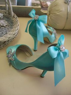 Tiffany Blue Crystal + Satin Heels