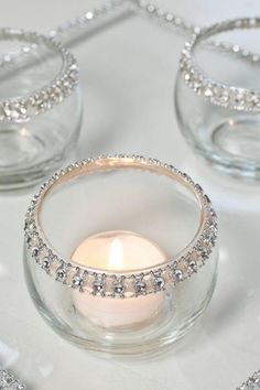 DIY with candle impressions' tea lights. Perfect for weddings or winter white holiday decor!