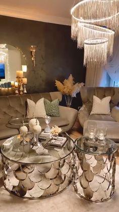 Glam Living Room, Living Room Decor Cozy, Elegant Living Room, Living Room Modern, Living Rooms, Home Room Design, Home Interior Design, Living Room Designs, Dream Home Design