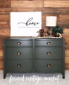 Military Bronze is looking awesome on this dresser painted by Found: Vintage Market! Dresser Refinish, Repainting Furniture, Dresser Furniture, Furniture Projects, Furniture Makeover, Refinished Dressers, Master Bedroom Redo, Master Room, Green Painted Furniture