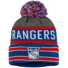 31700c96551ee Men s New York Rangers Old Time Hockey Gray Blue Storm Cuffed Knit Hat with  Pom