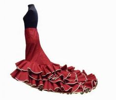 Flamenco Dress with train Bata de Cola 5 Flounces without lining