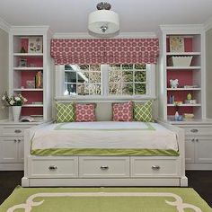 Fiorella Design - girl's rooms - greige, walls, green, rug, ivory, border, green, lattice, pillows, pink, pillows, matching, pink, custom, r...