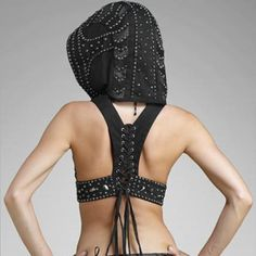 Box-Gelareh-Beaded Crop Hoodie : Ceiba SF
