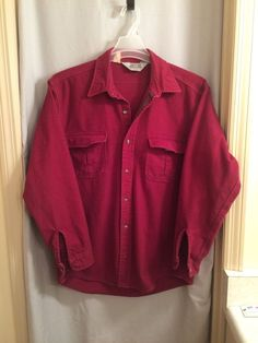 Mens Jacket Shirt by The Sportsmans Guide Solid Red Size Large #SportsmanGuide #BasicJacket