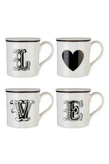 4 mugs en porcelaine 34 cl