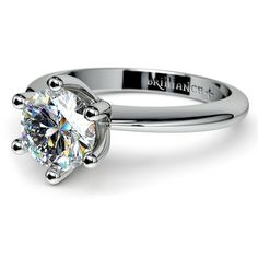 Classic Six Prong Solitaire Ring in White Gold