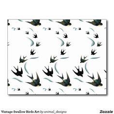 Vintage Swallow Birds Art Postcard