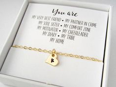 for best friends jewlery Best Friend Gift - Best Friend Necklace, Anklet or Bracelet - Tiny Heart Initial Charm - Gold or Silver Plated Jewelry - Friendship Gifts Girl Friendship, Friendship Jewelry, Friendship Gifts, Birthday Gifts For Best Friend, Best Friend Gifts, Best Friends, Best Friend Graduation Gifts, Birthday Presents, Bff Gifts