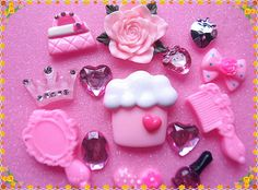 Pink flower Cake DIY bling cell phone case cabochon deco kit 14pcs on Etsy, £2.43