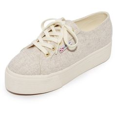 Superga 2790 Polywool Platform Sneakers (140 NZD) ❤ liked on Polyvore featuring shoes, sneakers, oatmeal, crepe sole shoes, wide platform shoes, superga shoes, wide fit shoes and wide width platform shoes