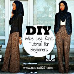 Sewing pants - sewing trousers - Super easy wide leg pants tutorial for beginners Diy Clothing, Clothing Patterns, Sewing Patterns, Sewing Pants, Sewing Clothes, Diy Sewing Projects, Sewing Tutorials, Tutorial Sewing, Pants Tutorial
