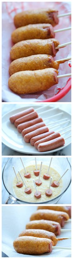 Easy Homemade Mini Corn Dogs. Perfect as an after-school snack, game-day appetizer or even a quick dinner!